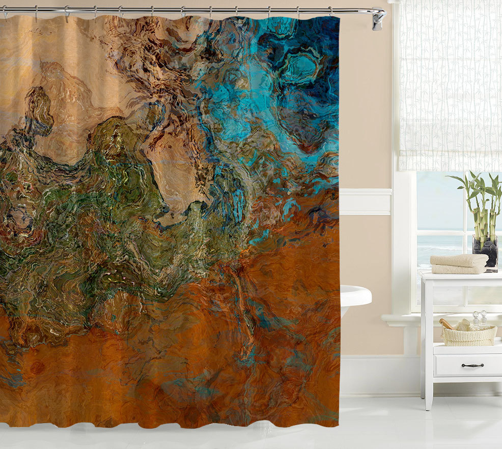 Abstract Art Shower Curtain Contemporary Bathroom Decor throughout measurements 986 X 883