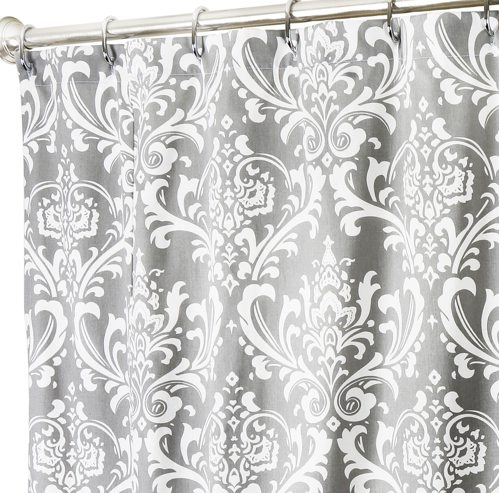 Teal And Black Damask Shower Curtain O Curtains Ideas