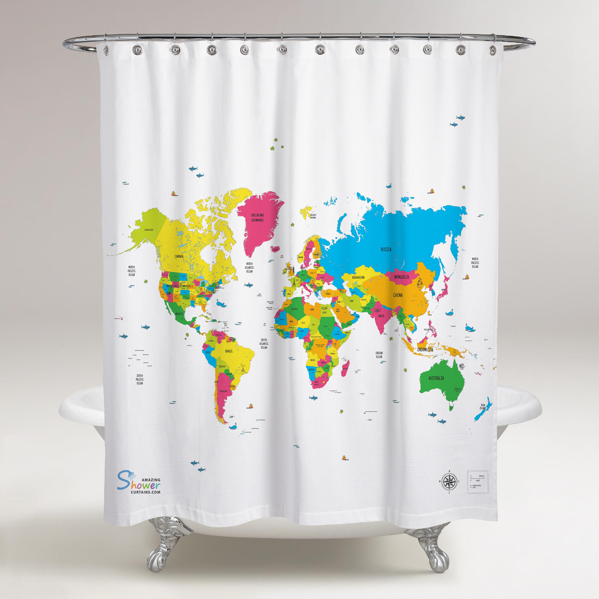 World Map Shower Curtain • Shower Curtains Ideas