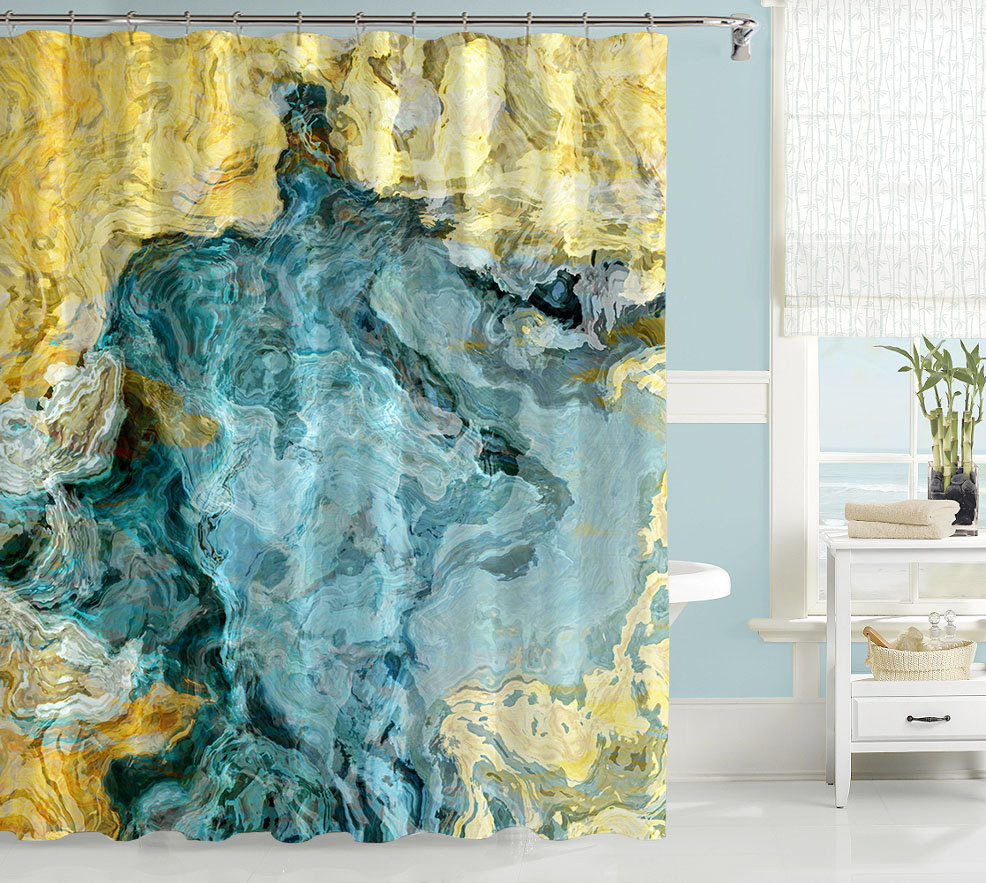 Yellow And Teal Shower Curtain • Shower Curtains Ideas