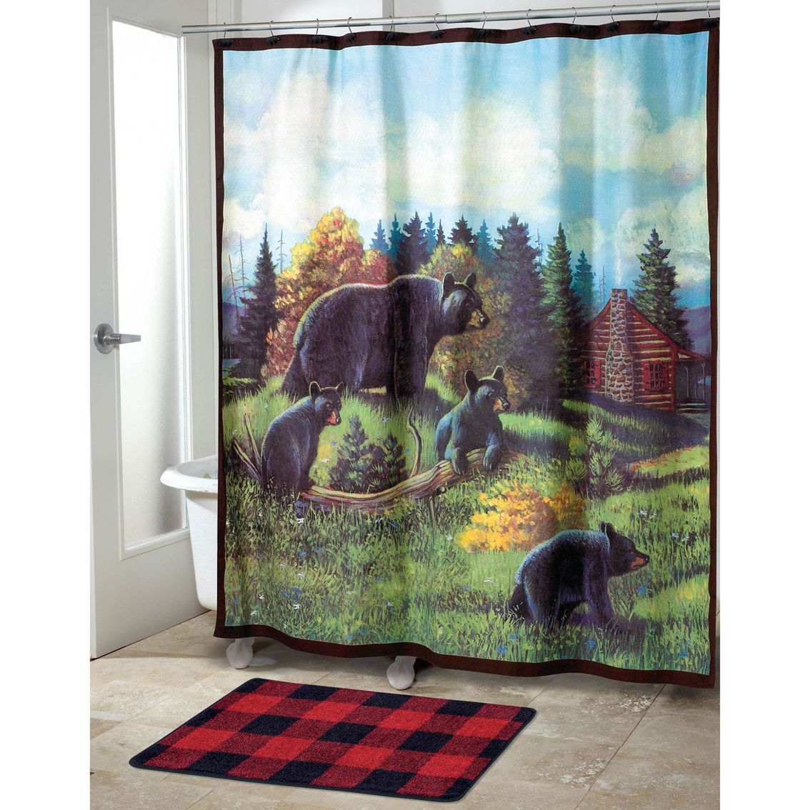 Avanti Black Bear Lodge Shower Curtain Shower Curtains Bath pertaining to size 1134 X 1134
