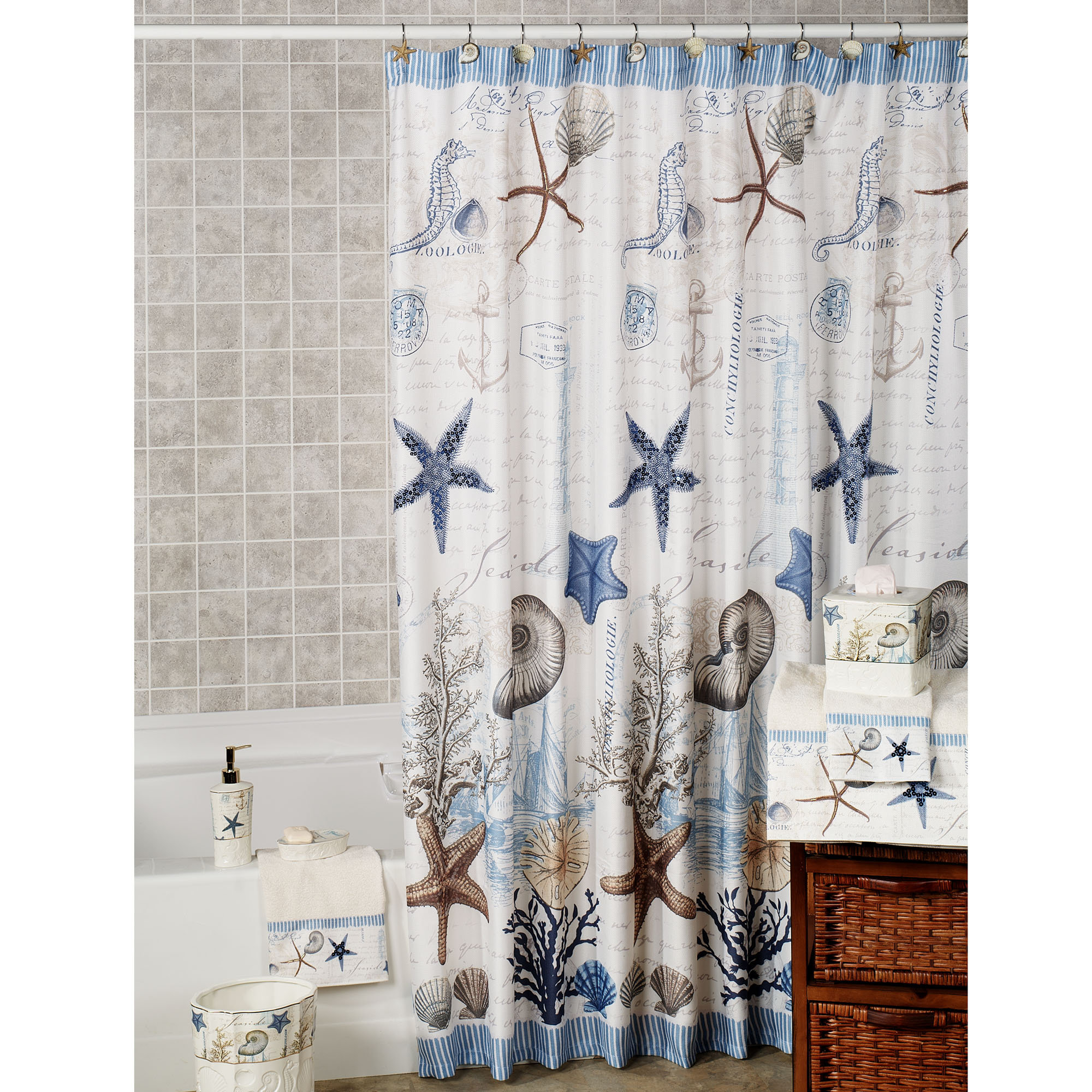 Pretty Nautical Theme Curtains Images - Bathroom with Bathtub ...