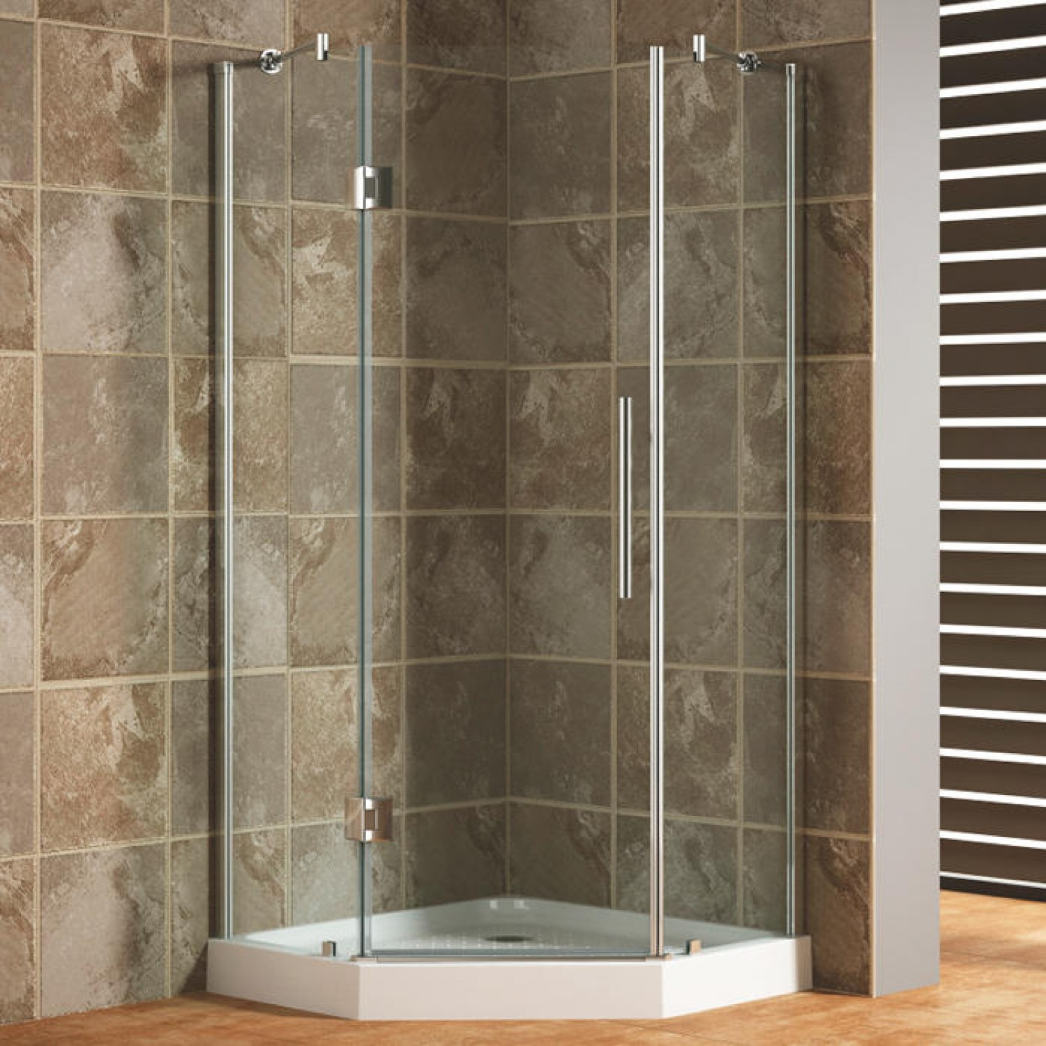 Tiled Corner Shower With Curtain • Shower Curtains Ideas