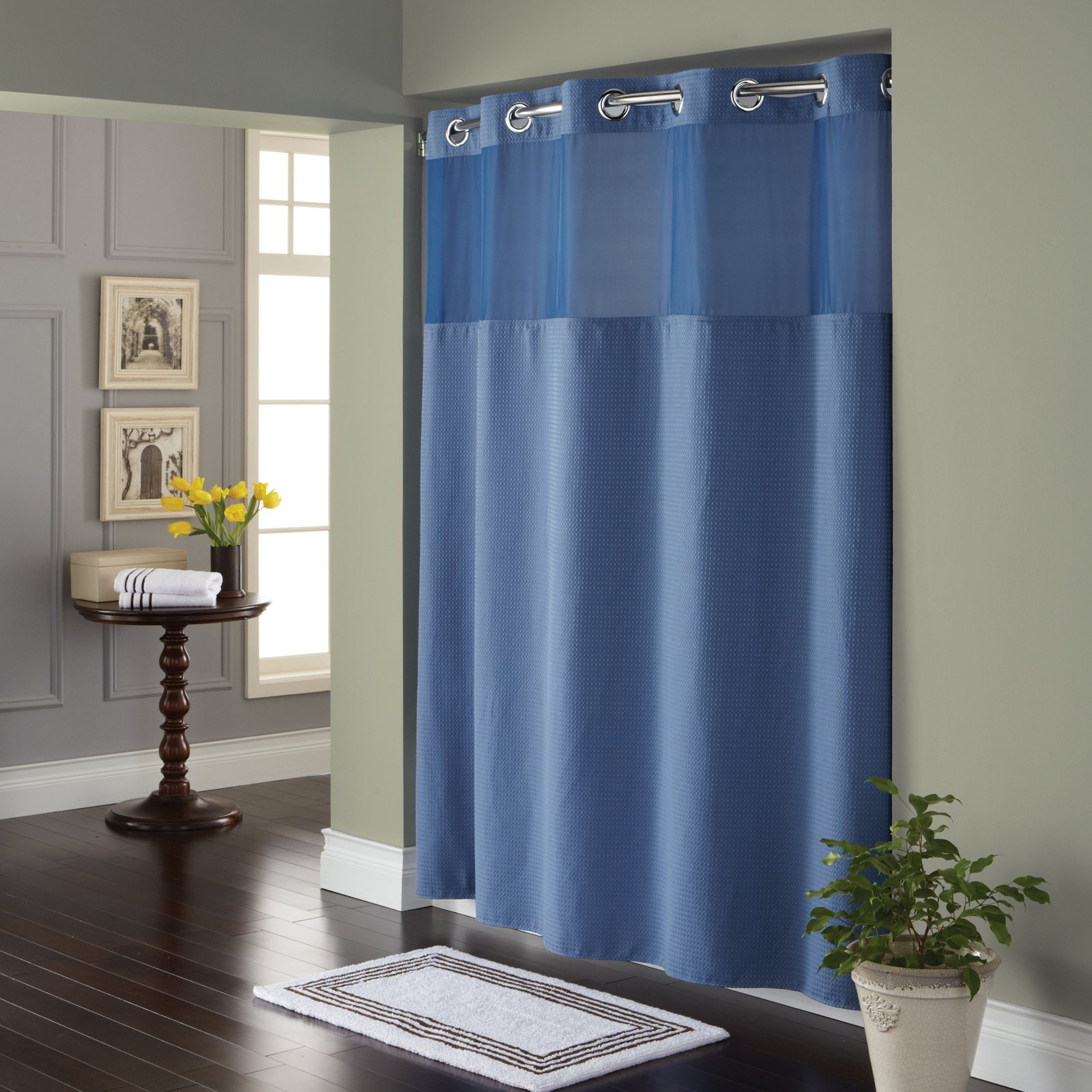 Bathroom Shower Curtain With Clear Panel Hookless Fabric For Proportions 1600 X