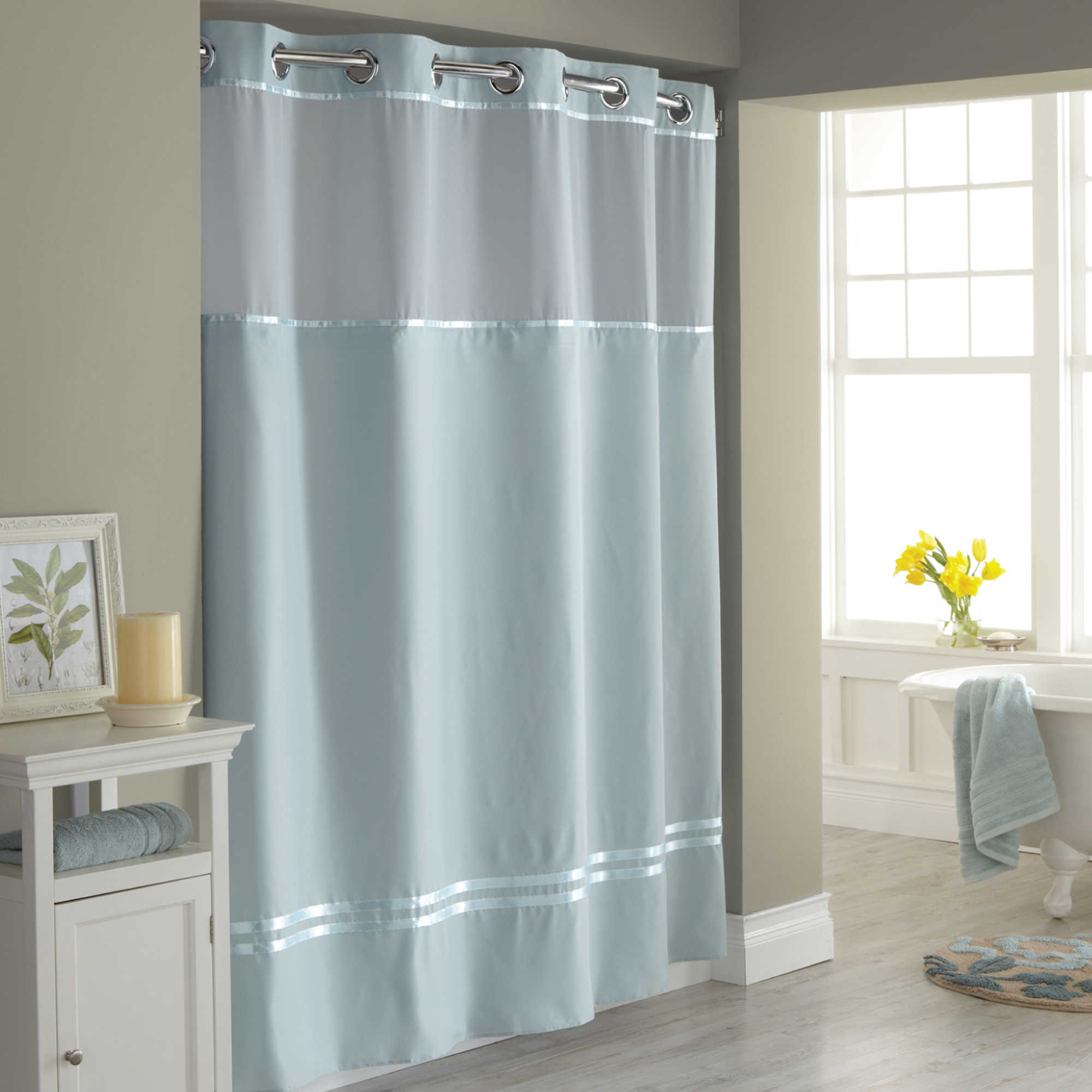 Bathroom Stunning Hookless Shower Curtain With Snap Liner For with regard to proportions 2000 X 2000