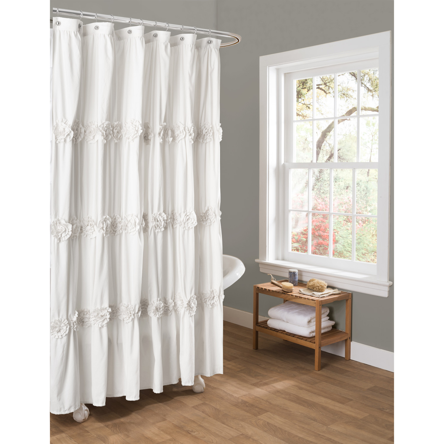 Bathroom White Daltile Wall With Curved Shower Curtain Rod And throughout measurements 1500 X 1500
