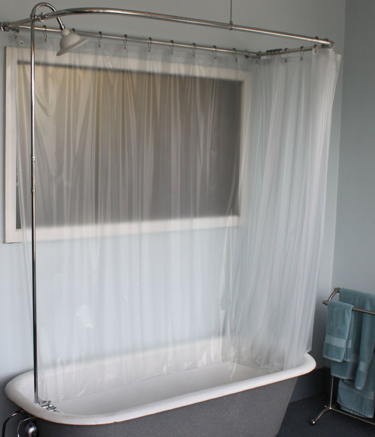 Bathroom White Shower Curtains With Round Curtain Rods And Cozy for proportions 1286 X 1500