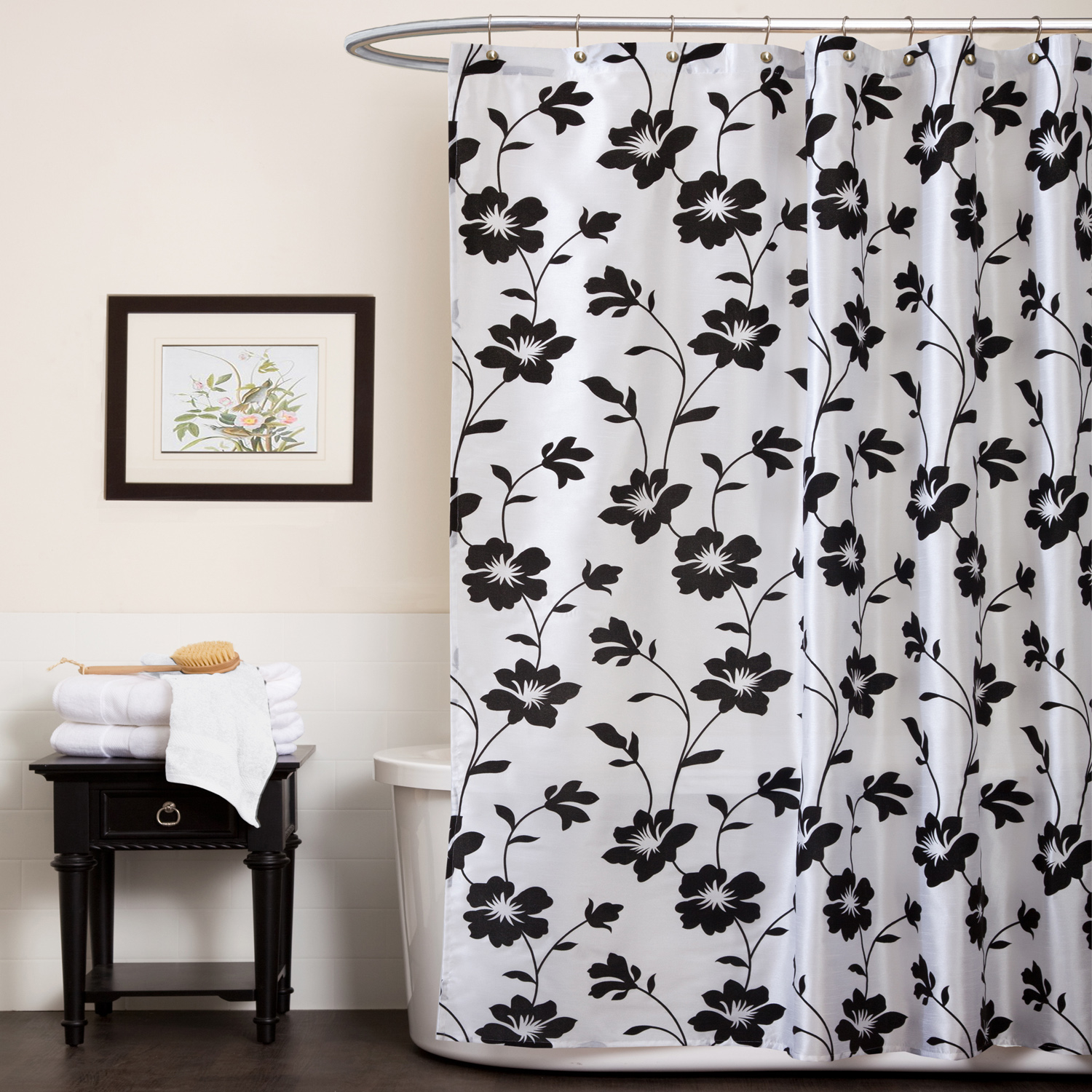 Beautiful Black And Grey Shower Curtain In Flower Pattern Of With Measurements 1500 X