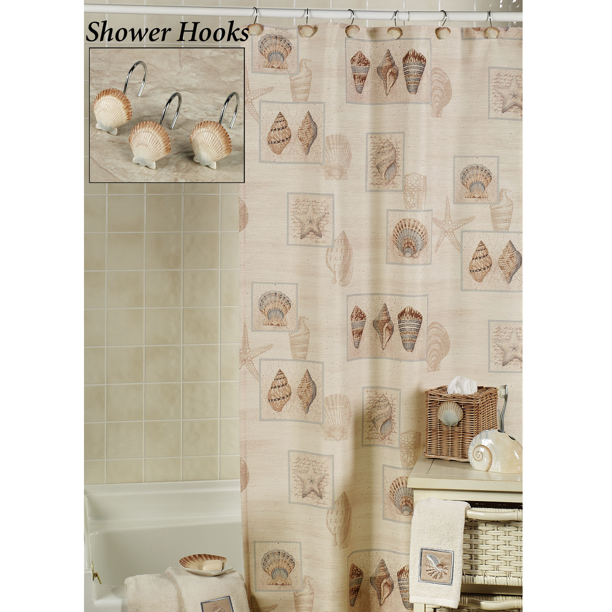 Best Silver Seashell Shower Curtain Hooks Seashell Shower within size 2000 X 2000