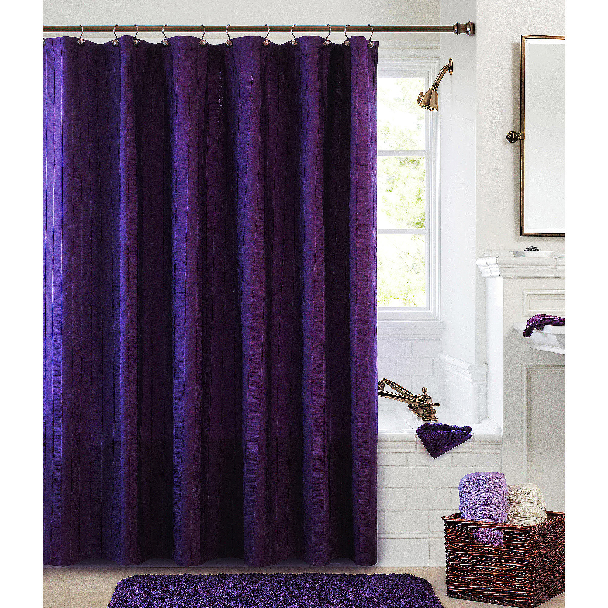 Better Homes And Garden Gathered Stripe Fabric Shower Curtain intended for sizing 2000 X 2000