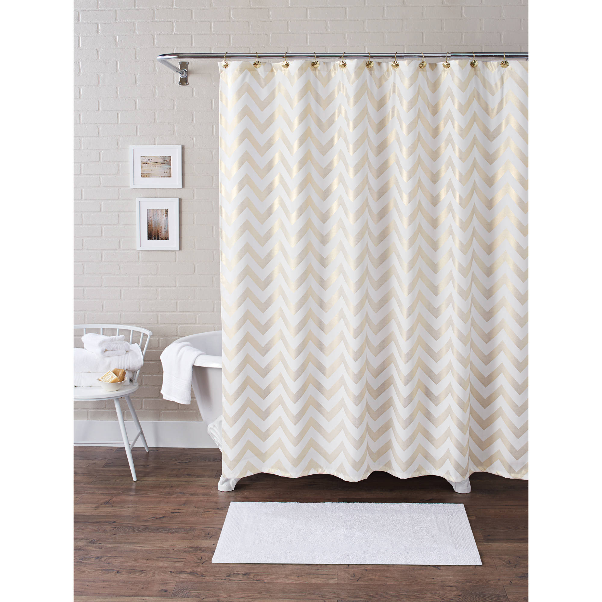 Black White Chevron Shower Curtain. Better Homes And Gardens Metallic Chevron Fabric 13 Piece Shower intended  for dimensions 2000 X Black Tan Curtain Curtains Ideas