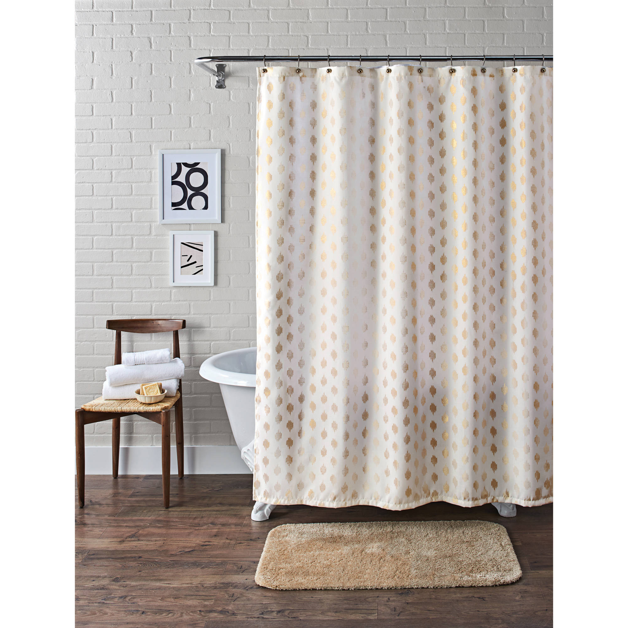 Better Homes And Gardens Metallic Ikat Dou Fabric Shower Curtain with dimensions 2000 X 2000