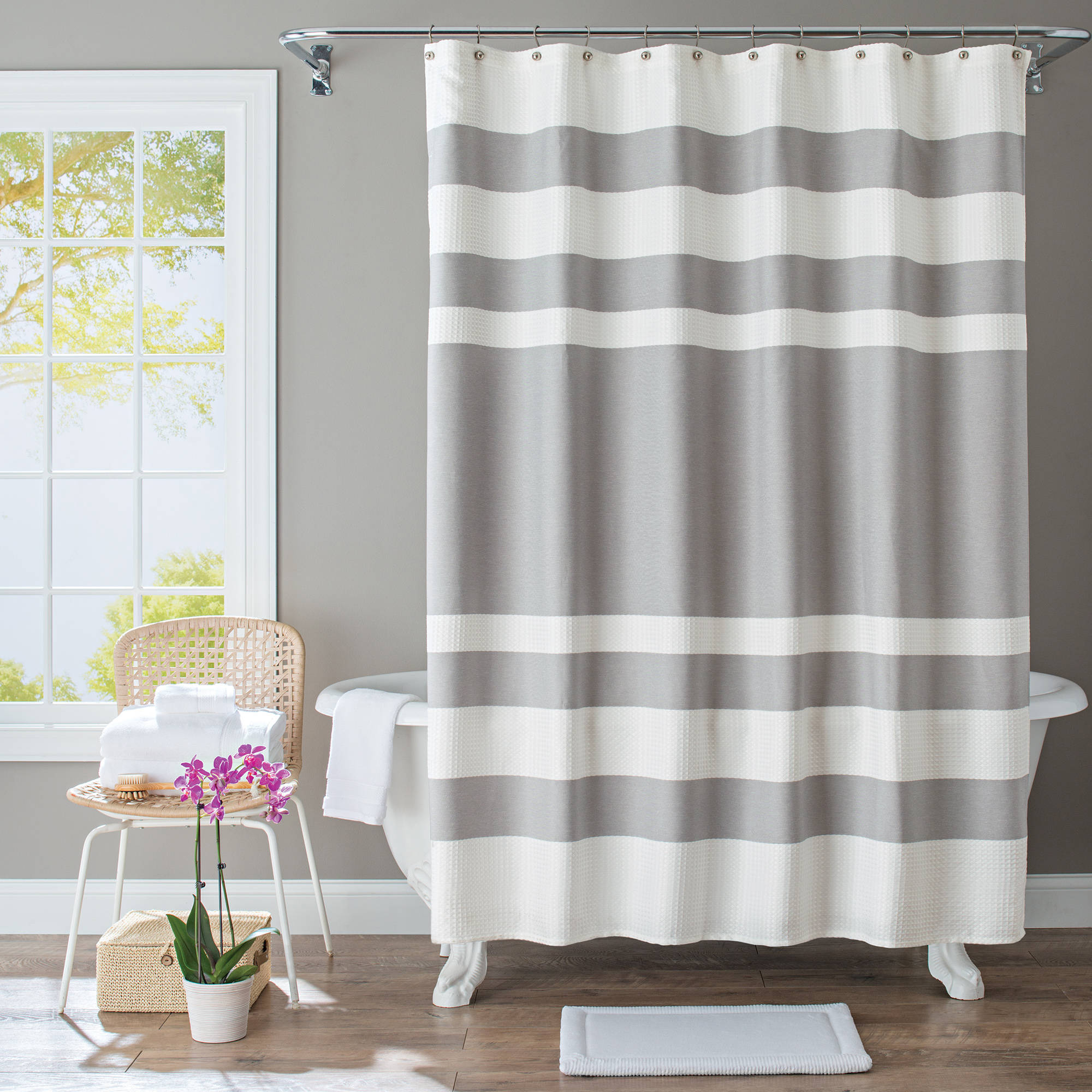 Gray And White Striped Shower Curtain Curtains Drapes