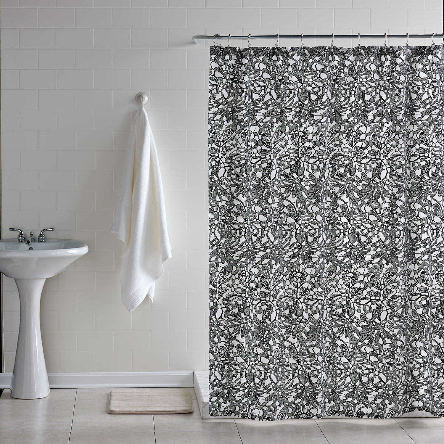 Black And Ivory Damask Shower Curtain Shower Curtain in sizing 1500 X 1500