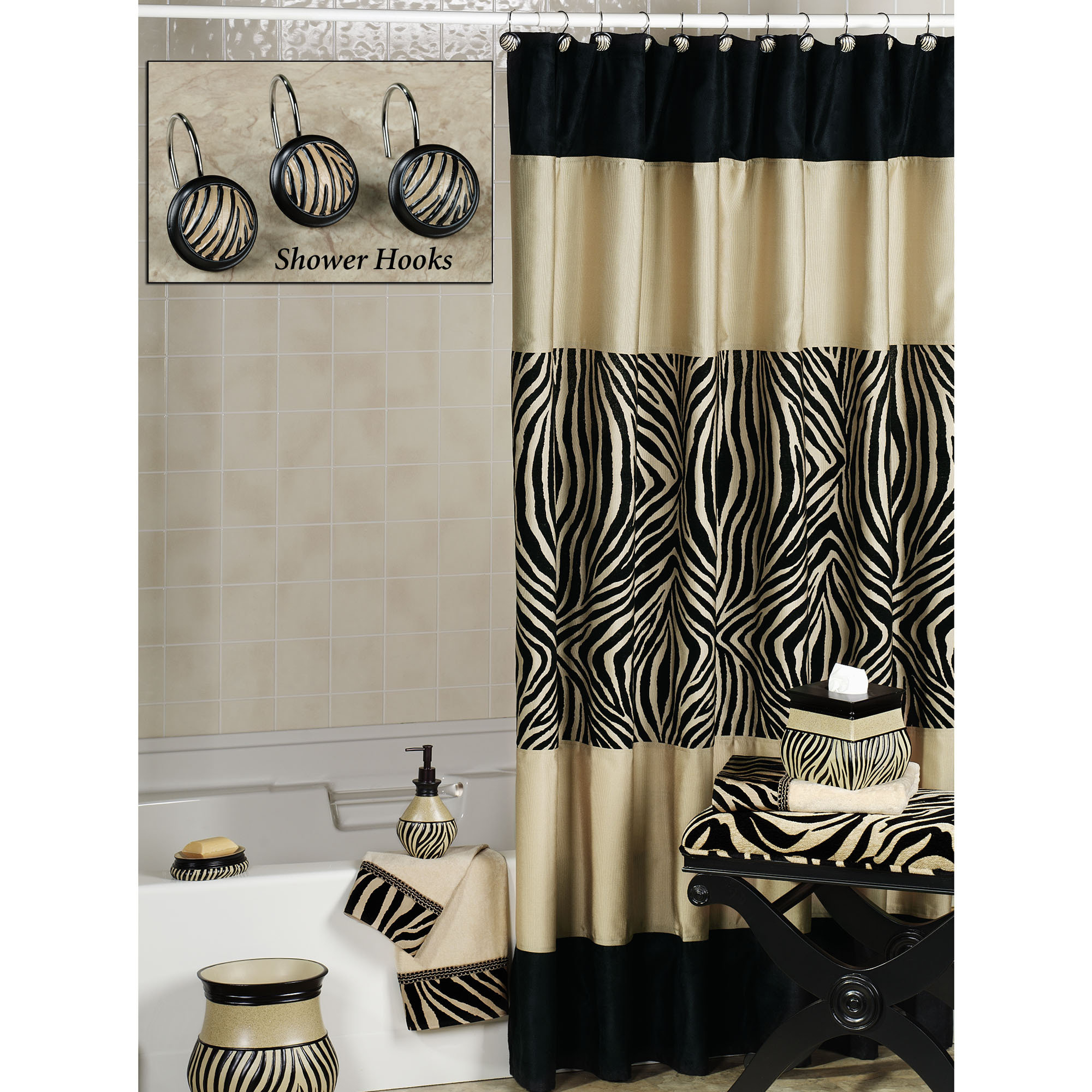 Pink And Black Zebra Shower Curtain • Shower Curtains Ideas