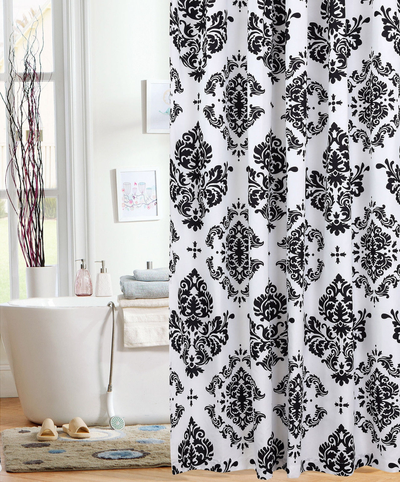Black And White Damask Print Shower Curtain Shower Curtains Design inside dimensions 1327 X 1600