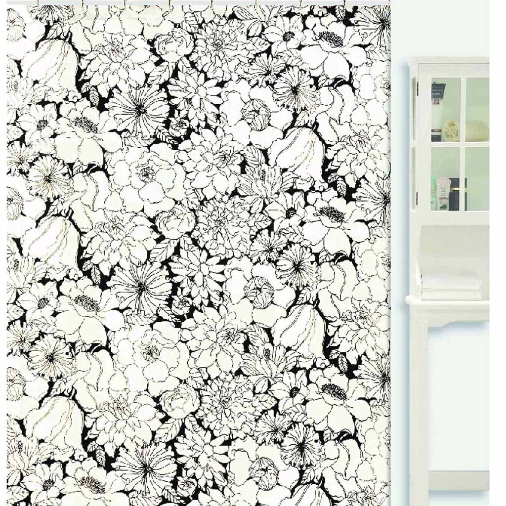 Black And White Flower Shower Curtain. Black And White Shower Curtain regarding sizing 1024 X Floral Print  Curtains Ideas