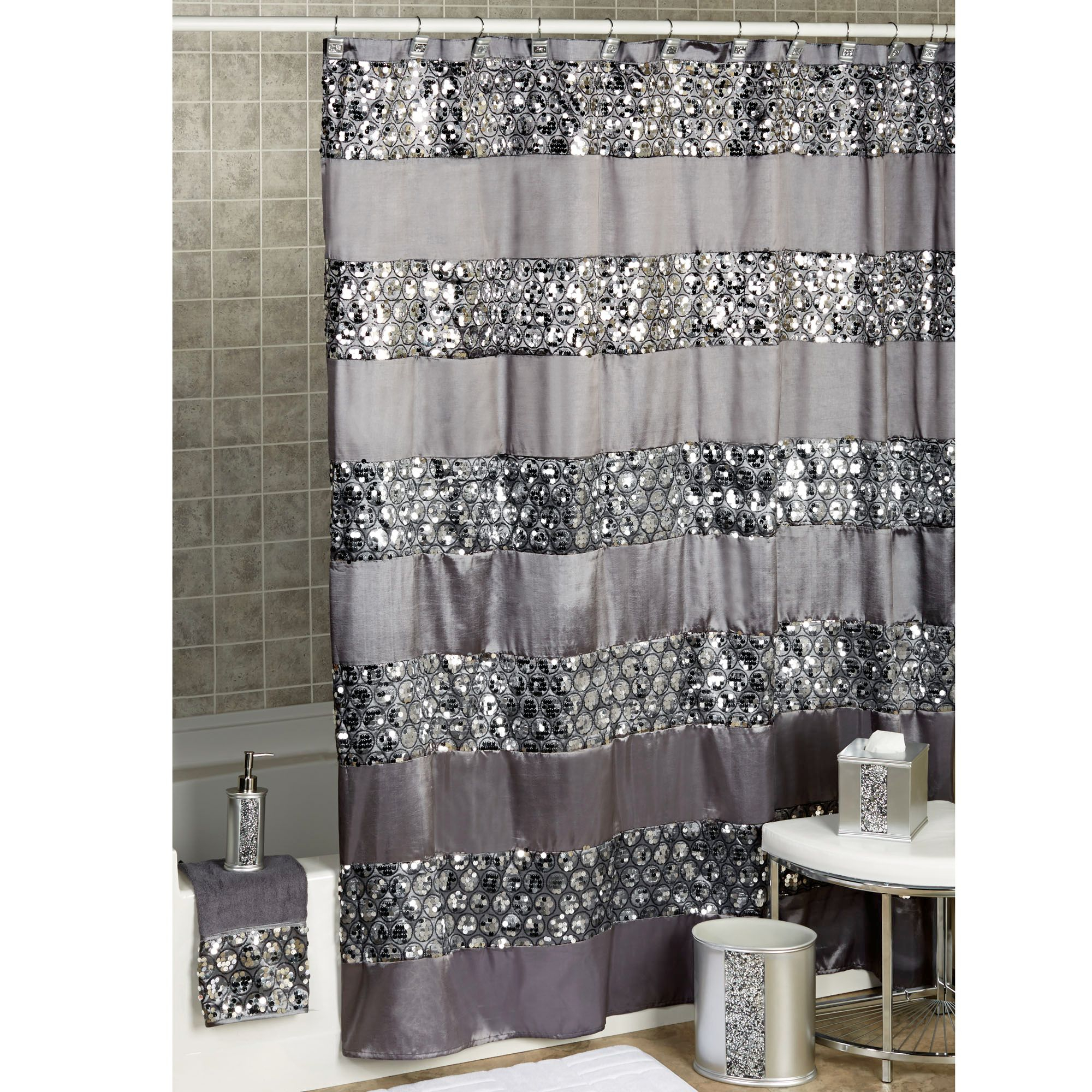 Black Solid Sequin Shower Curtain • Shower Curtains Ideas