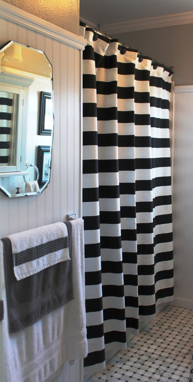 Black And White Vertical Striped Shower Curtain Shower Curtain Ideas with dimensions 736 X 1450