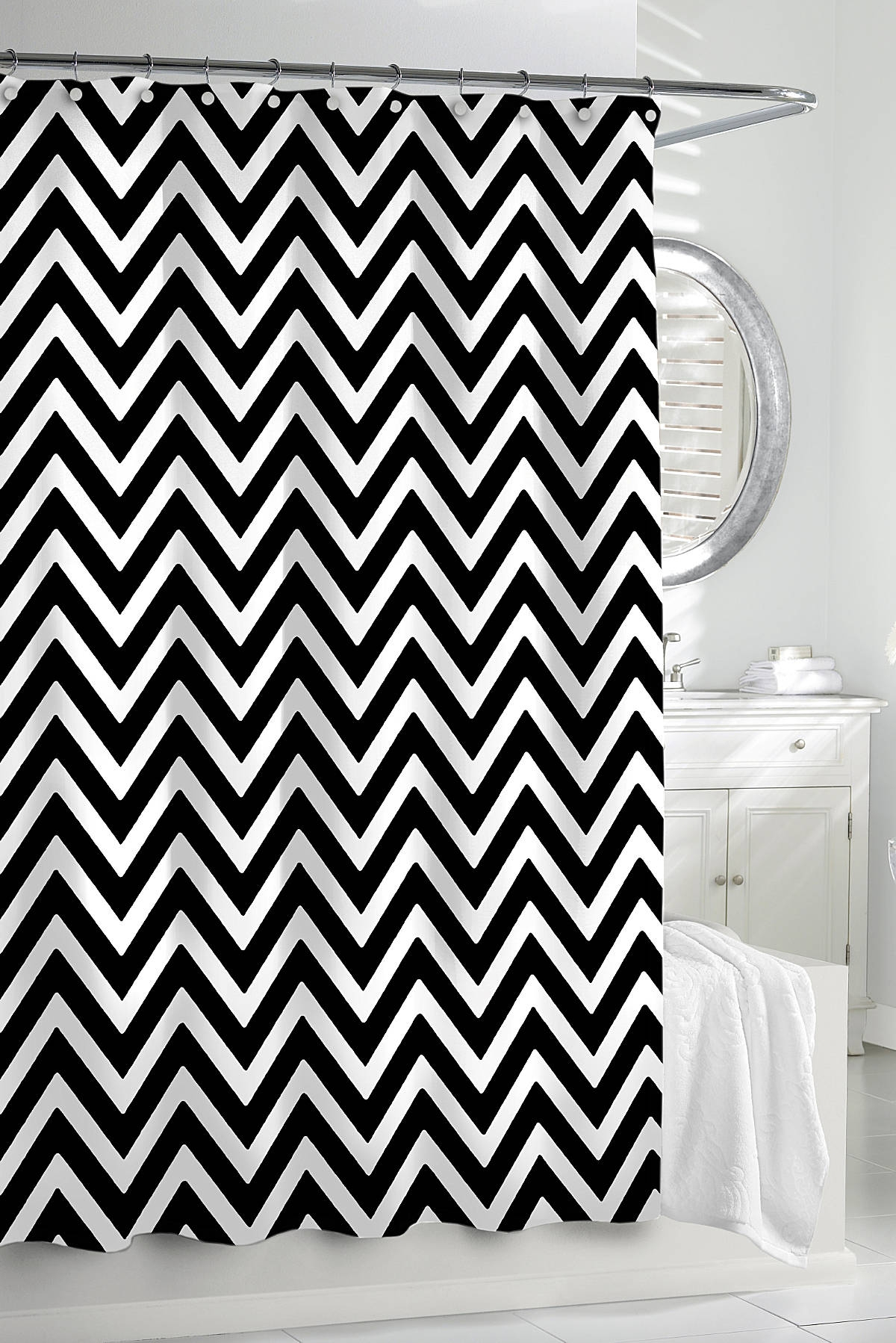 Black Chevron Print Shower Curtain Shower Curtain with dimensions 1200 X 1798