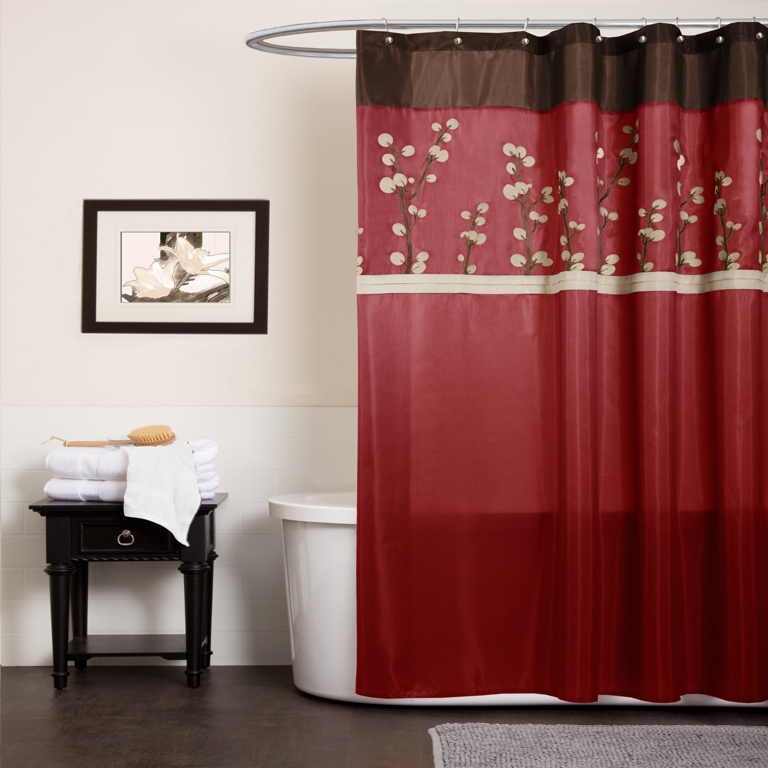 Black Red And Brown Shower Curtain Design With Sizing 1500 X