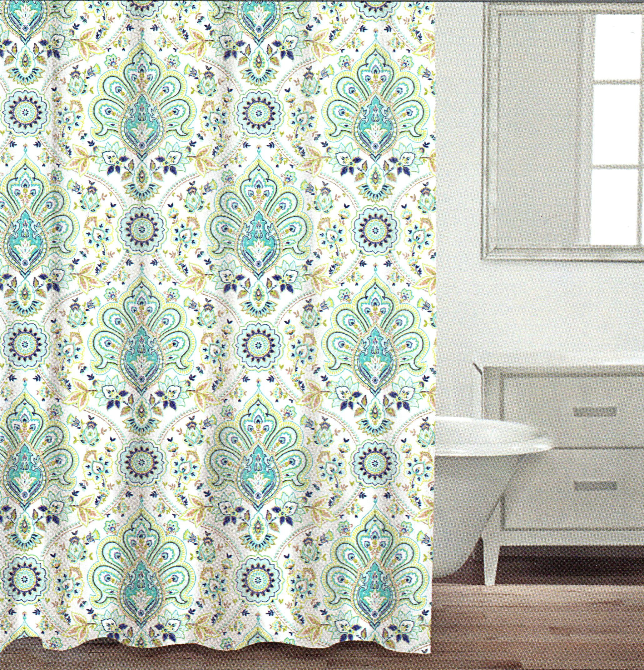 Blue And Brown Paisley Shower Curtain Shower Curtains Design in proportions 2062 X 2144