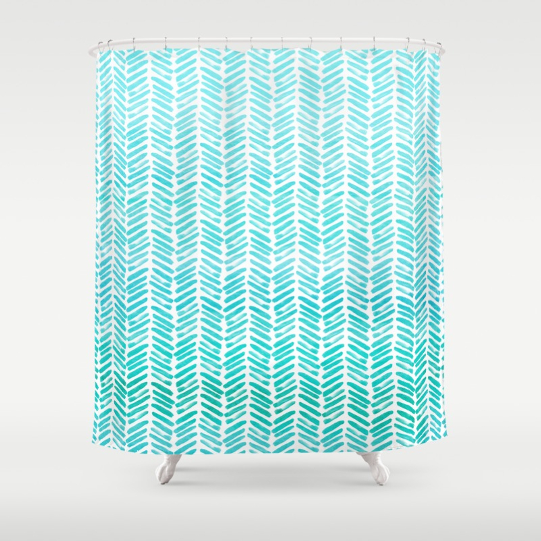 Blue And Green Chevron Shower Curtain • Shower Curtains Ideas