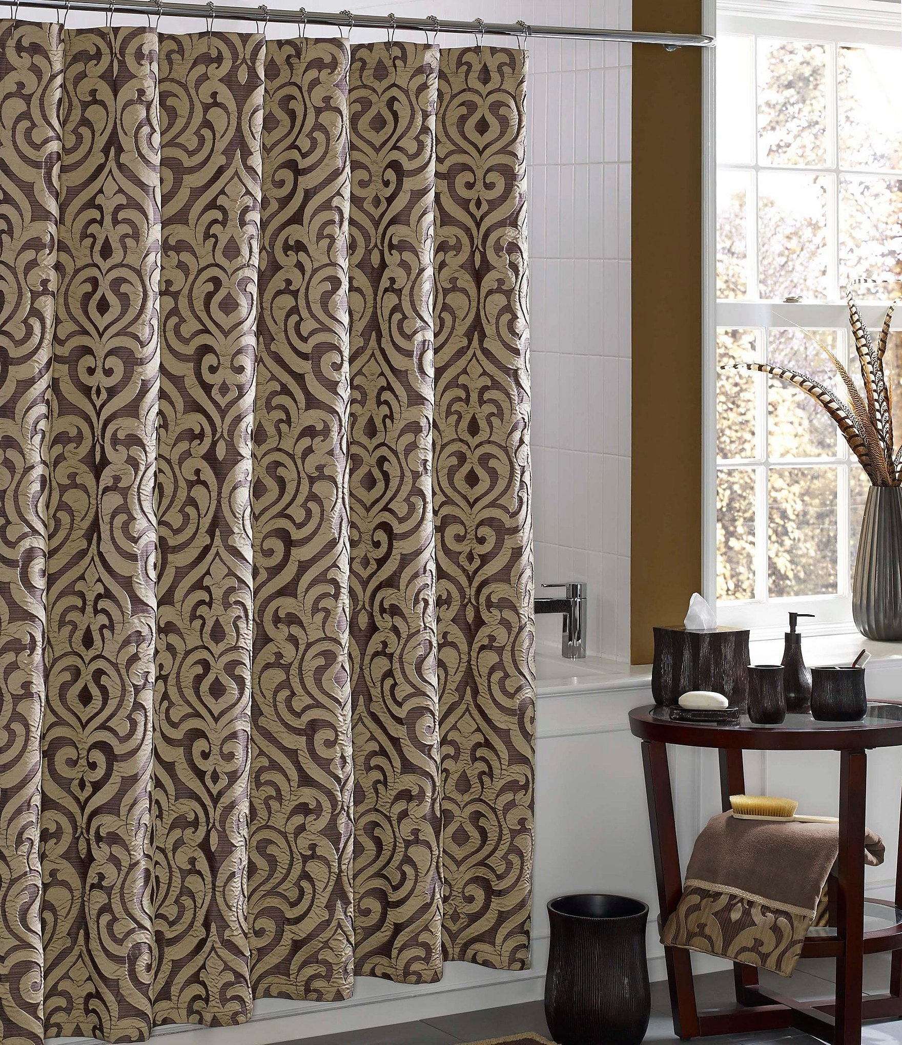 Blue And Brown Damask Shower Curtain • Shower Curtains Ideas