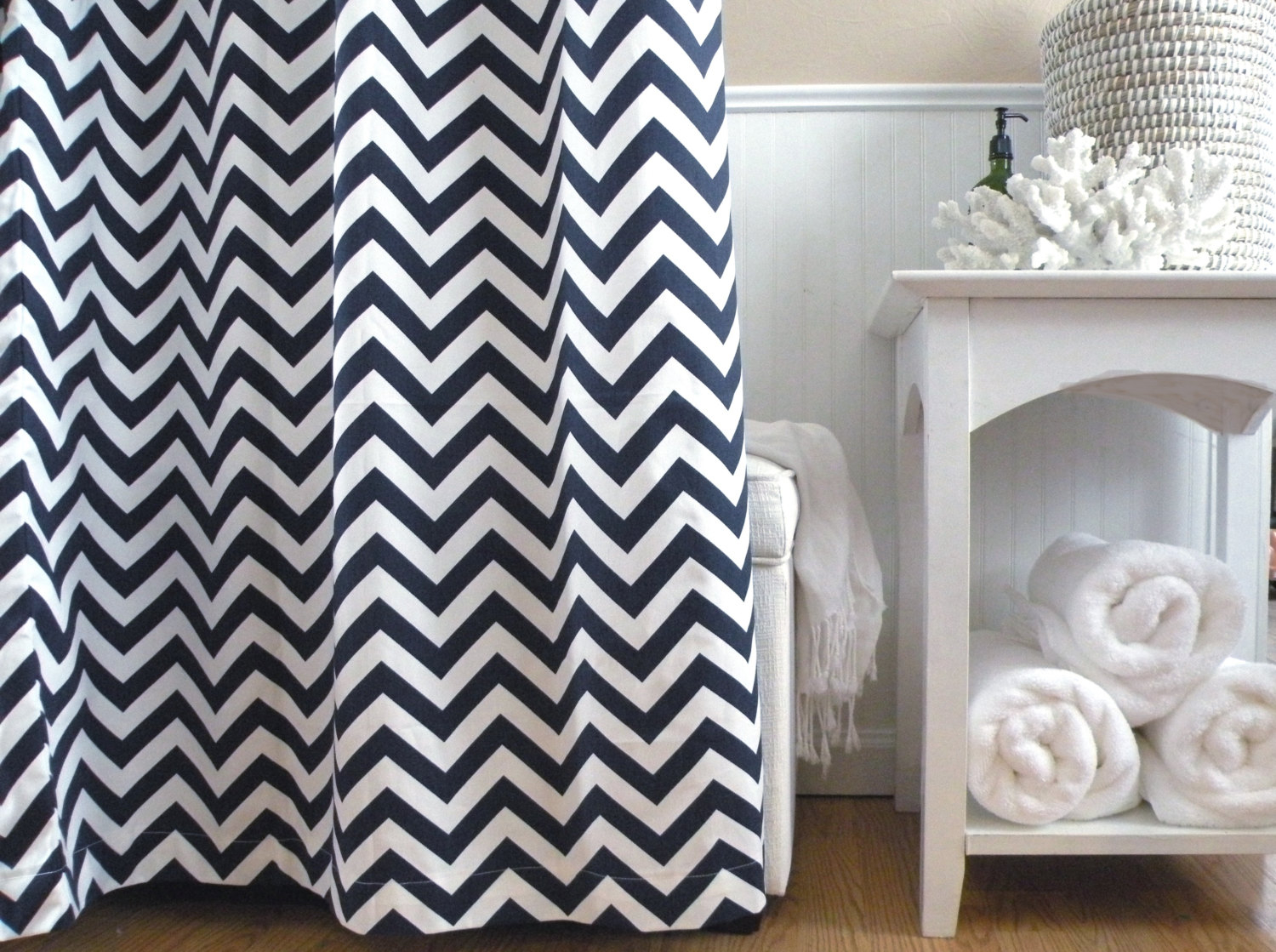 Blue Chevron Shower Curtain Shower Ideas intended for size 1500 X 1119