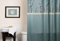 Blue Fabric Shower Curtain On Stainless Hook Connected Black throughout size 1492 X 1492