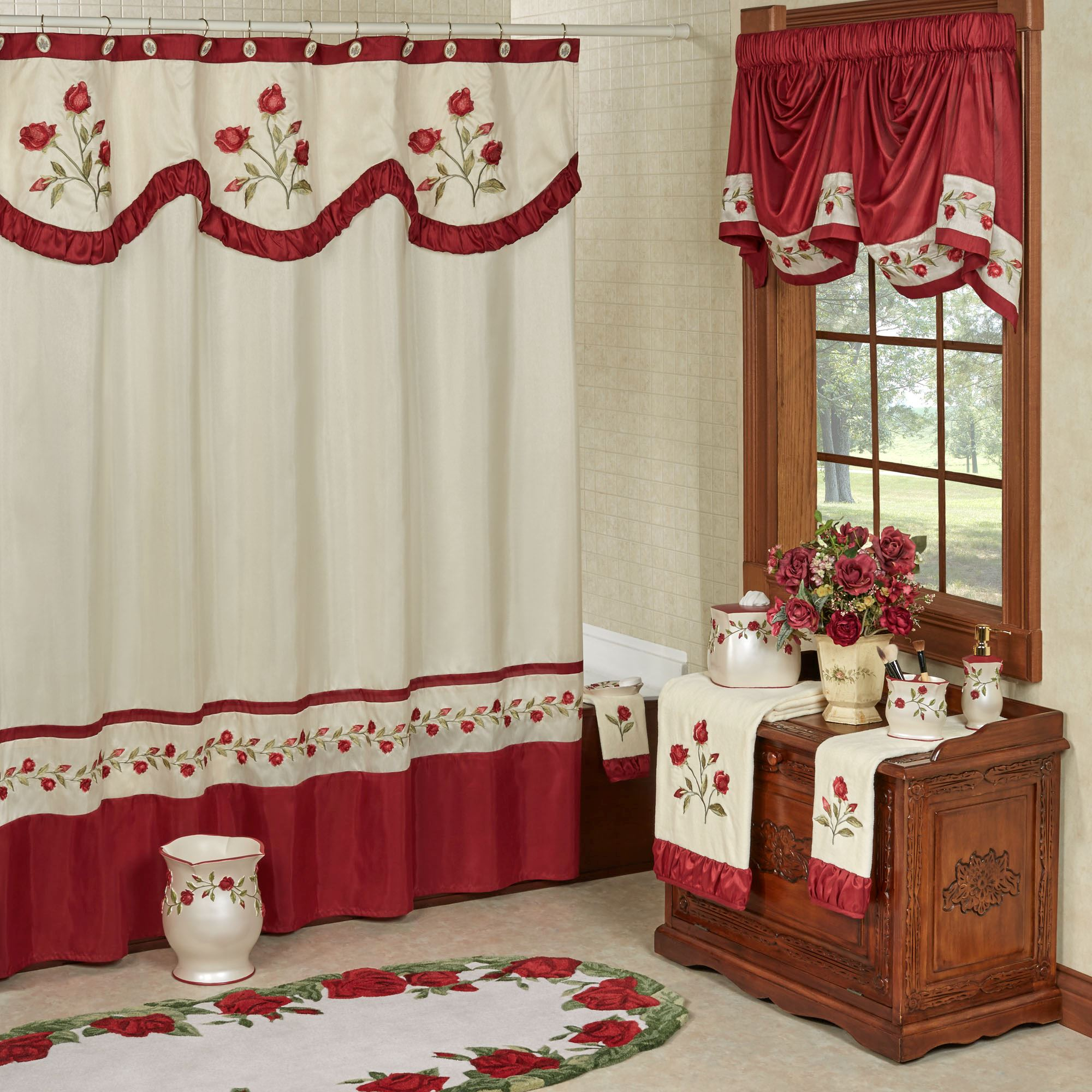 Briar Rose Embroidered Red Floral Shower Curtain pertaining to sizing 2000 X 2000