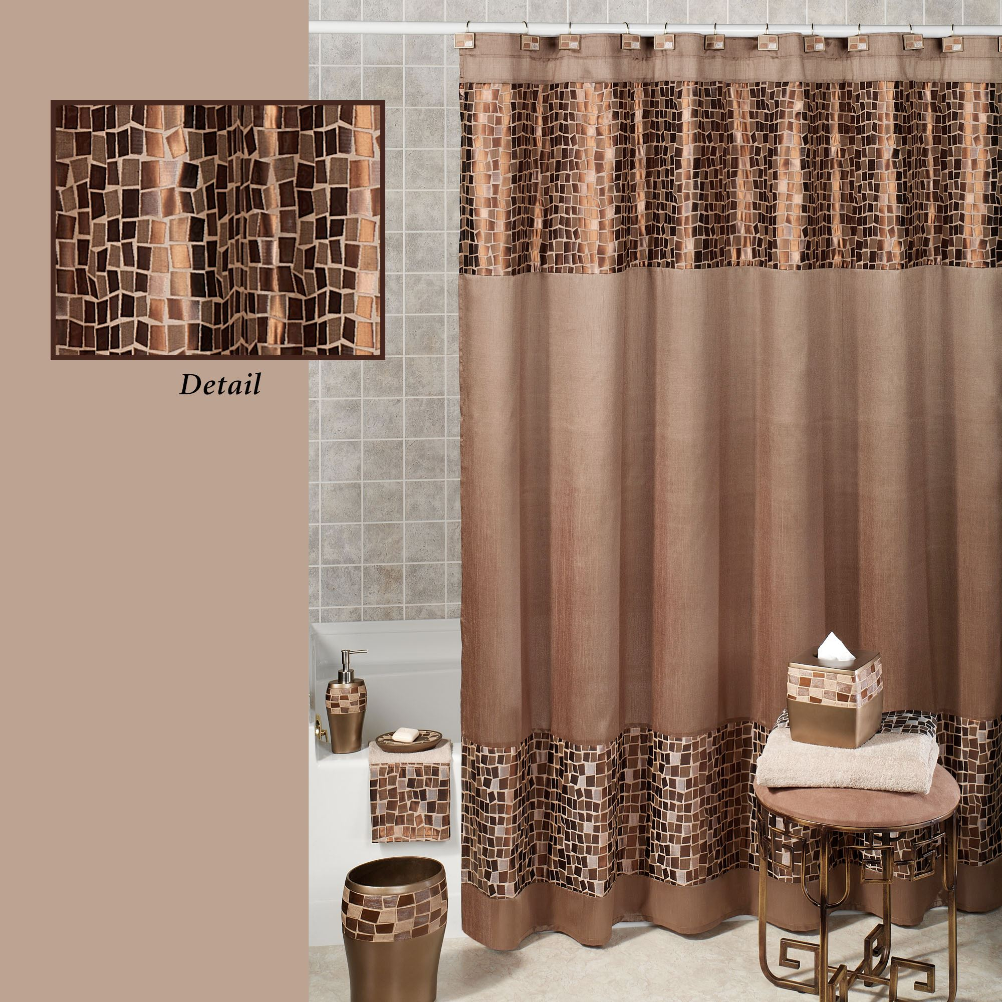 Bronze Mosaic Stone Fabric Shower Curtain For Measurements 2000 X
