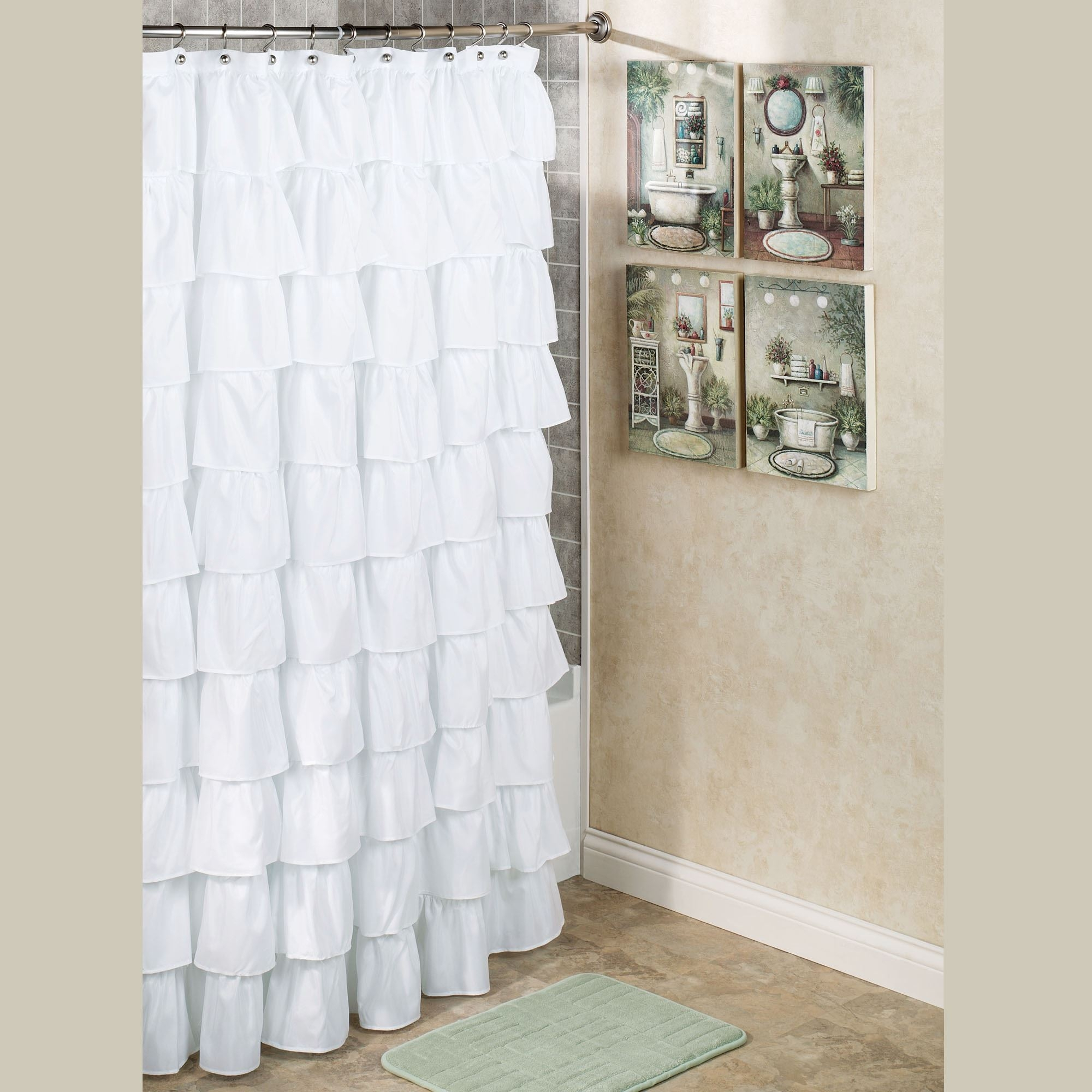 Brown Ombre Ruffle Shower Curtain Shower Curtains Ideas
