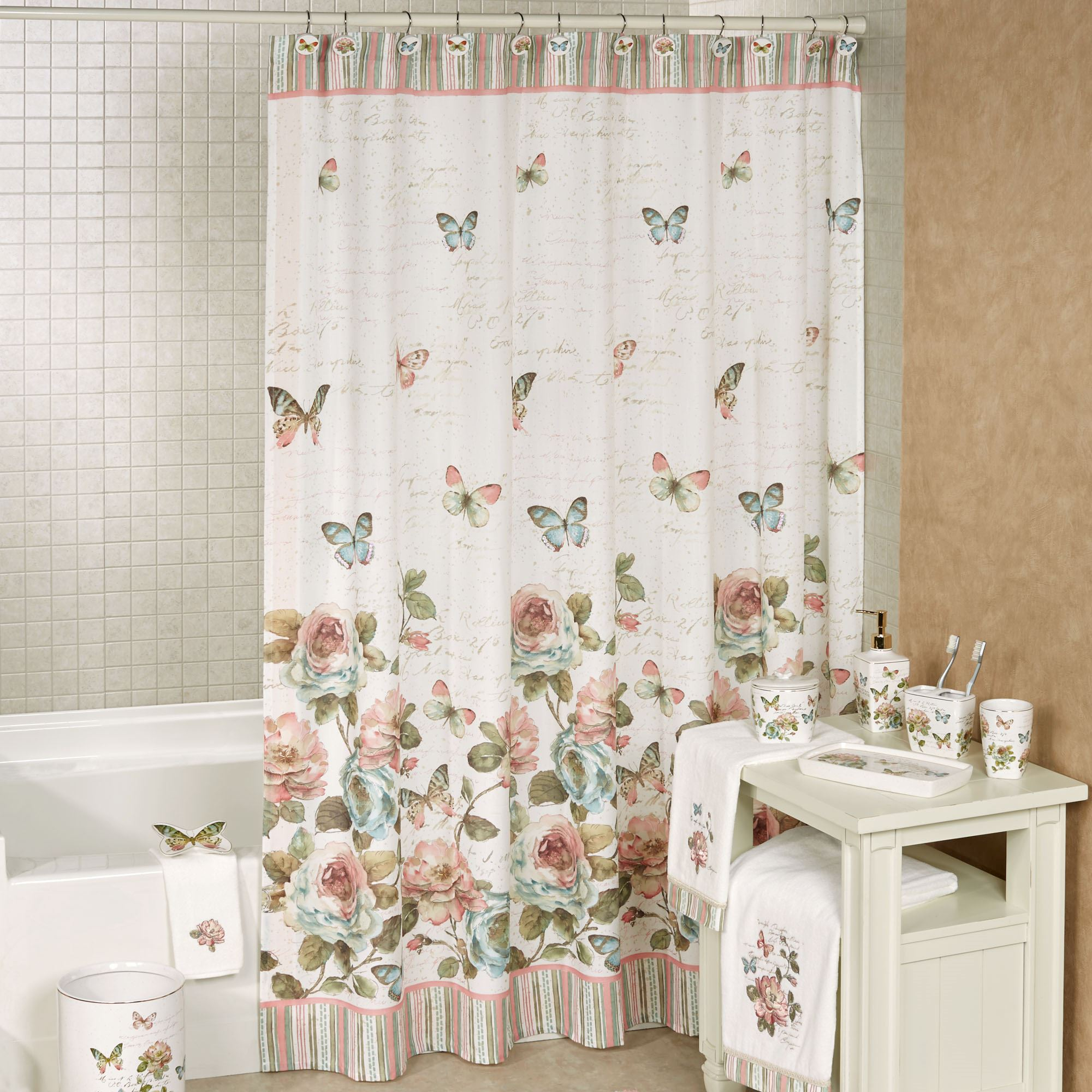 Cute Pink Shower Curtain Hooks Bathroom Ideas