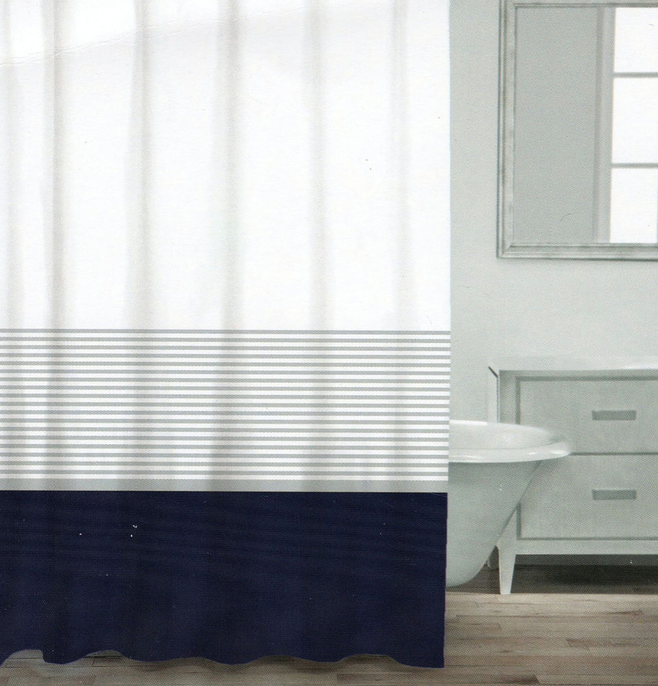 Caro Home Cotton Shower Curtain Wide Stripe Navy Blue Silver White throughout sizing 960 X 1000