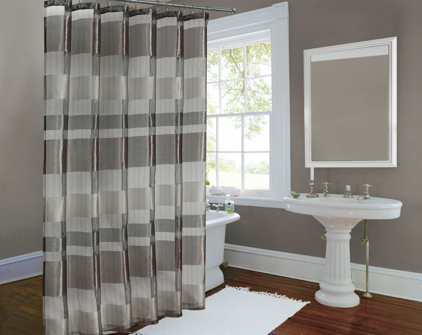 Charming Decoration Gray And White Striped Shower Curtain within dimensions 1417 X 1128