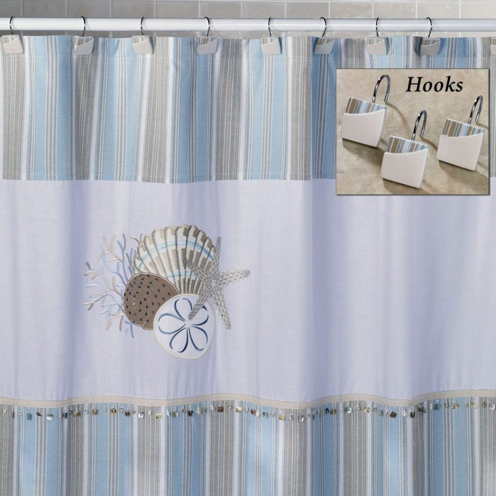 Coffee Tables Sea Breeze Tropical Seashell Shower Curtain Hooks within measurements 970 X 970