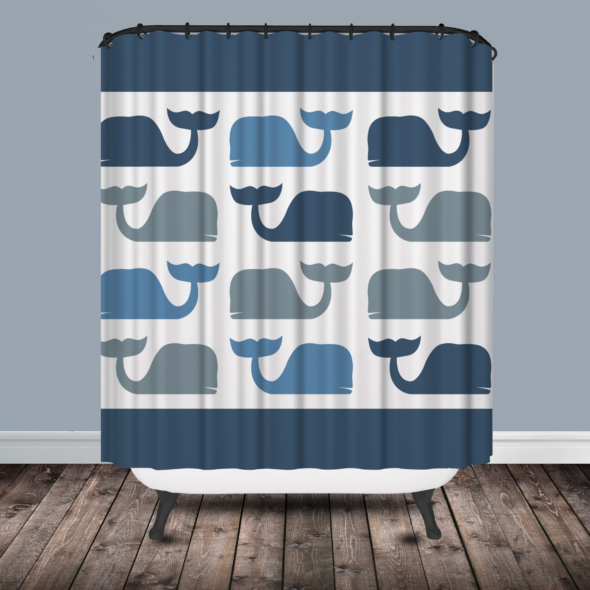 Navy Blue And Coral Shower Curtain • Shower Curtains Ideas