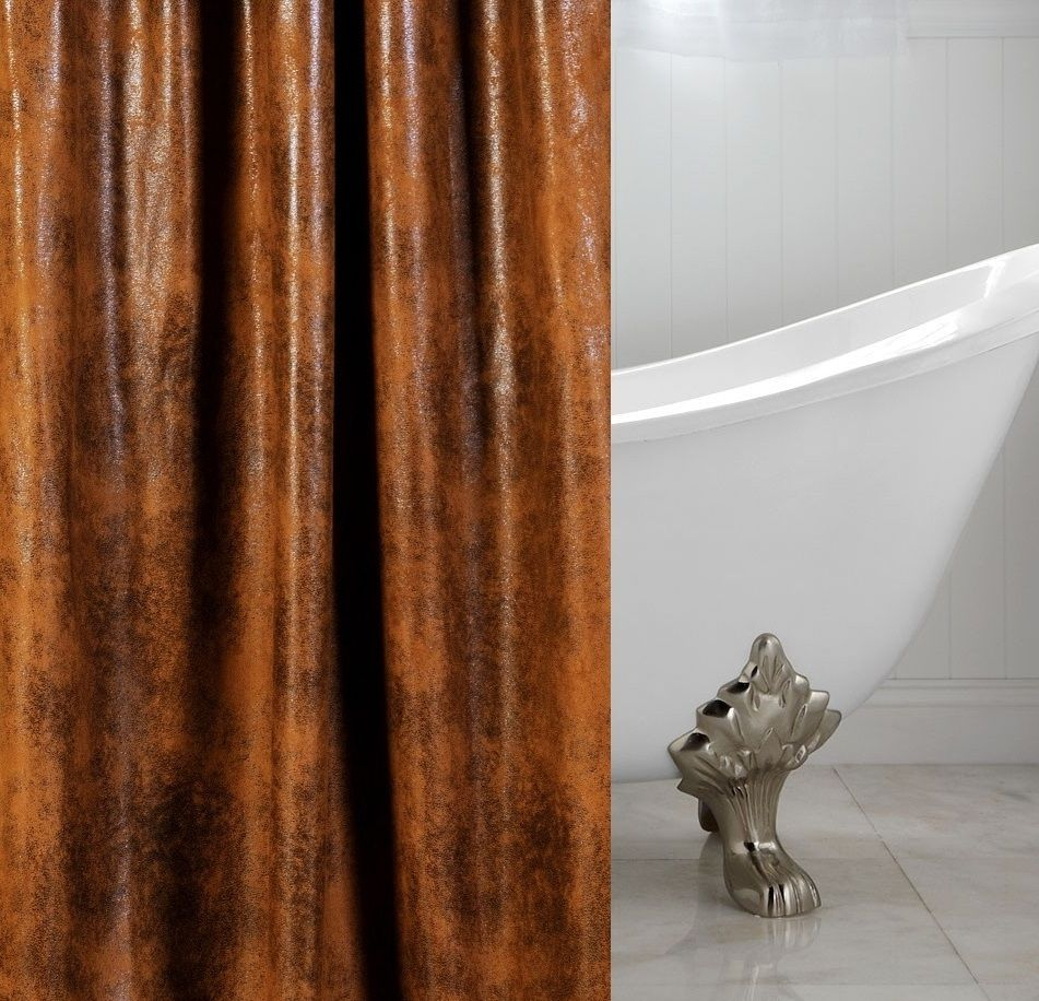 Cognac Faux Leather Luxury Custom Shower Curtain within measurements 951 X 916