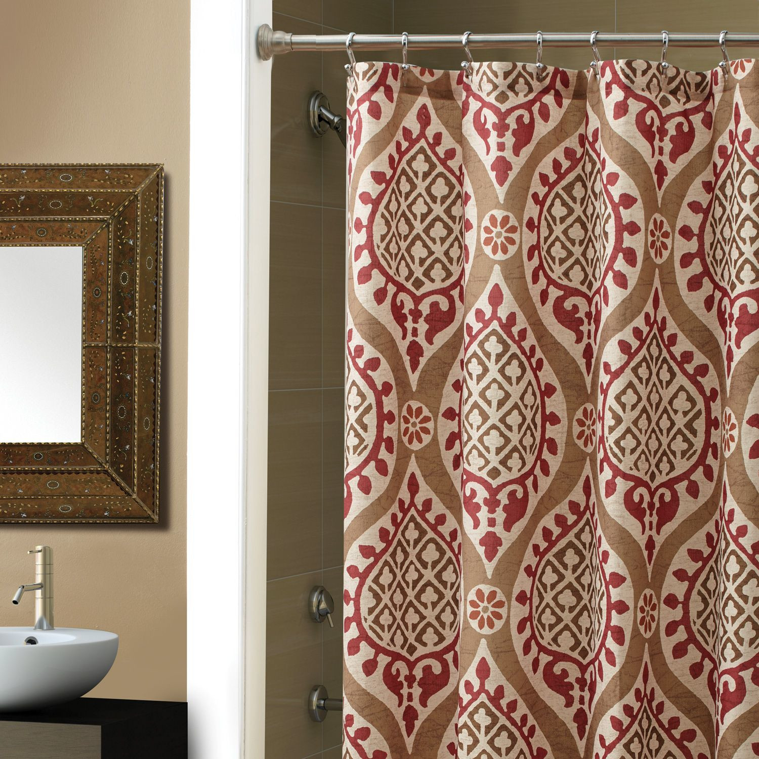 extra brown and red shower curtain. Colorful Shower Curtain Liners In Compelling Ava Extra Long inside  proportions 1500 X Red And Brown Striped Curtains Ideas