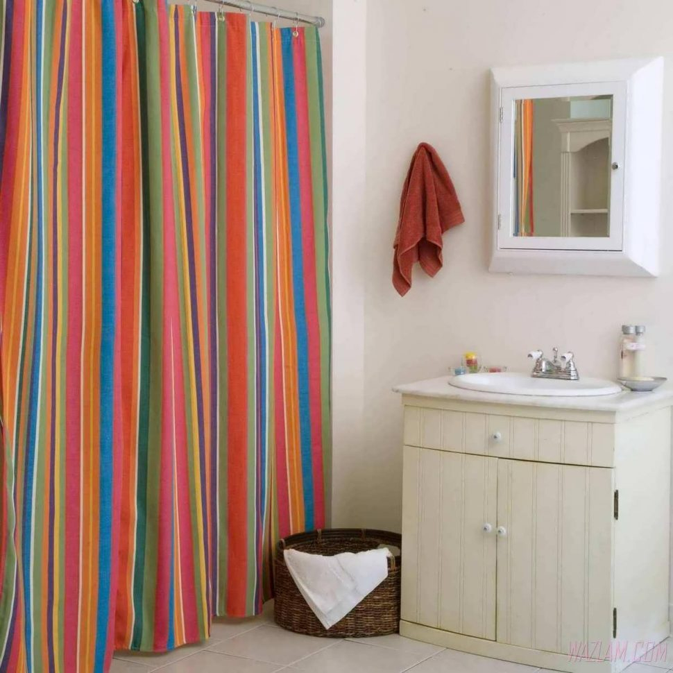 Colorful Ticking Stripe Shower Curtain Marcosanges Special regarding size 970 X 970