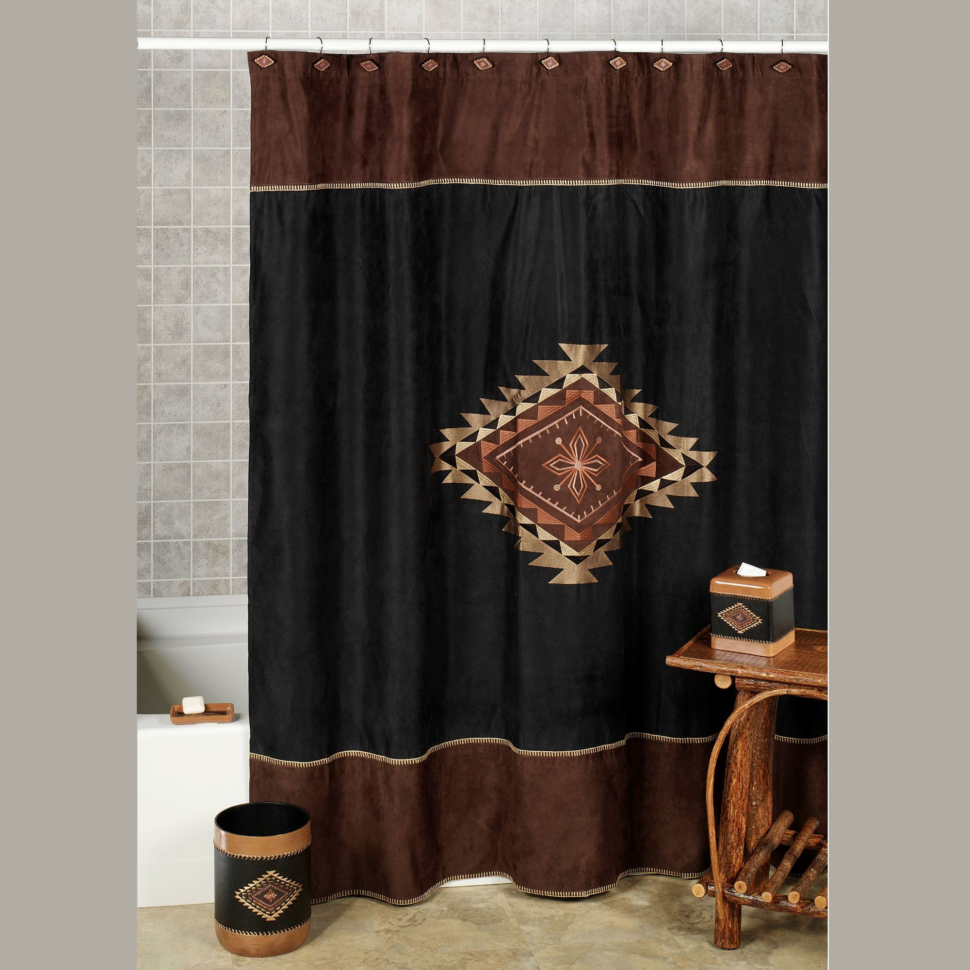 Colton Faux Suede Southwest Shower Curtain for proportions 2000 X 2000