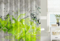 Contemporary Shower Curtain Abstract Art Bathroom Decor Lime in measurements 986 X 883