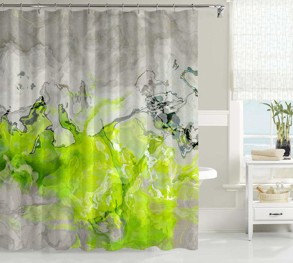 Green Grey And White Shower Curtain • Shower Curtains Ideas