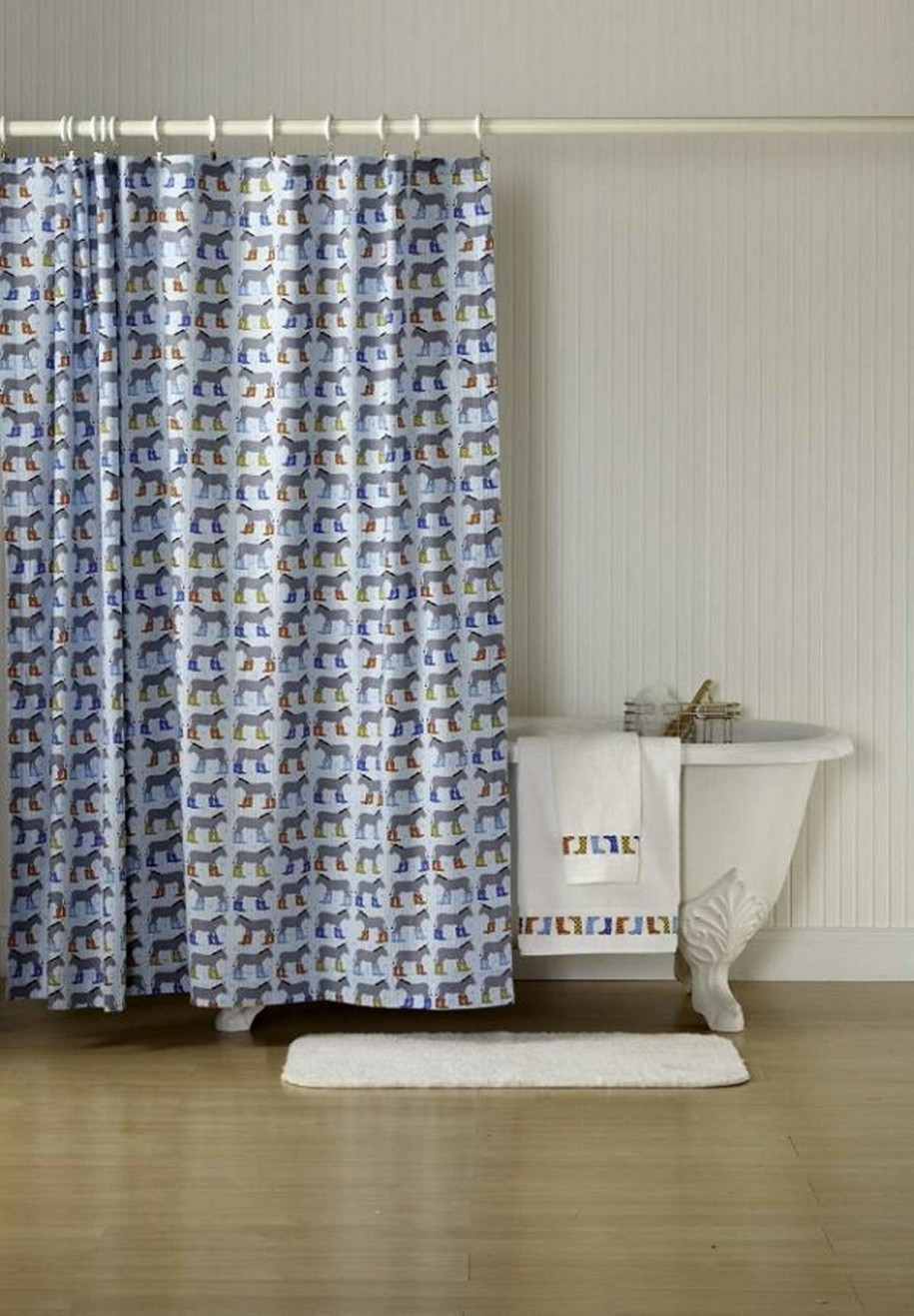 Color Block Shower Curtain White And Navy Blue Shower