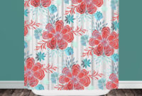 Coral And Aqua Shower Curtain Shower Curtain Design with regard to dimensions 2000 X 2000