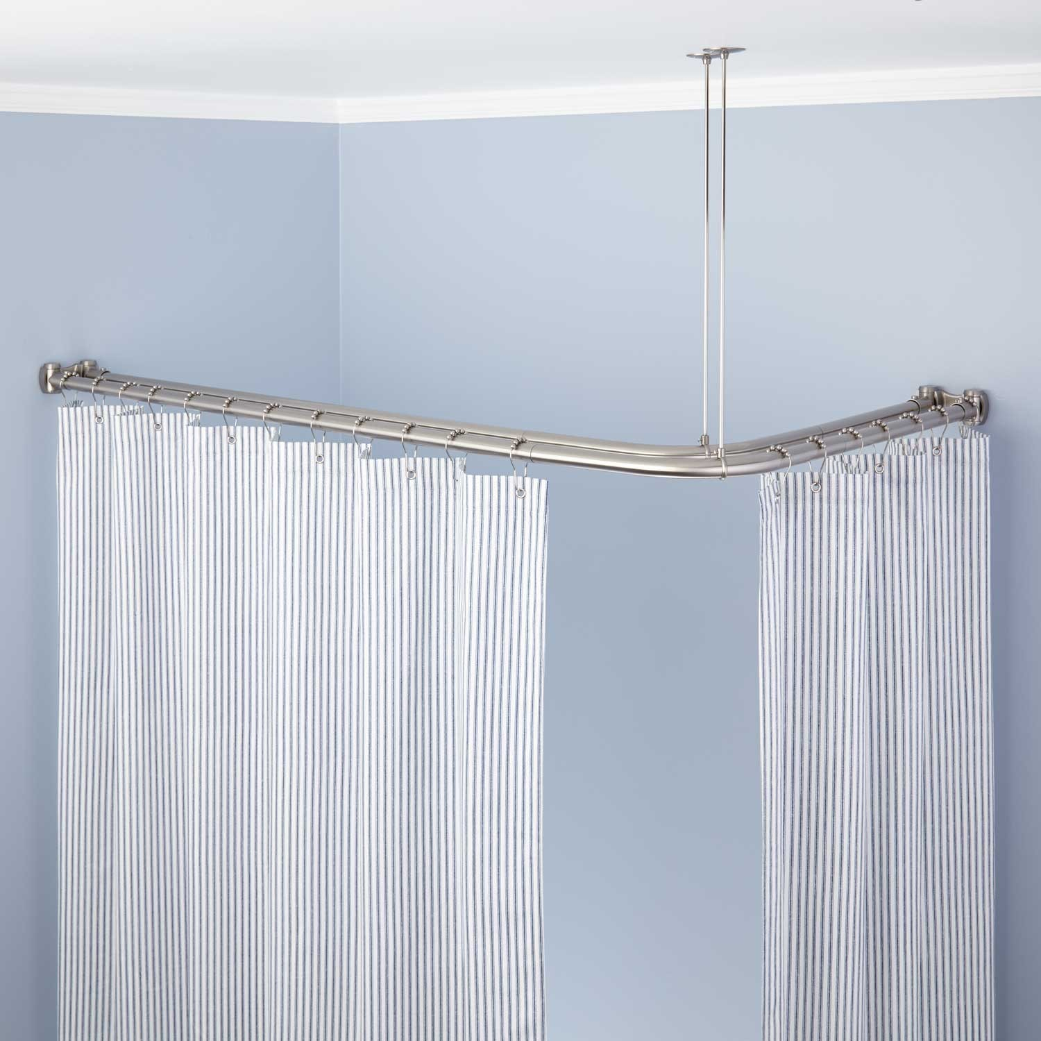 Corner Double Solid Brass Shower Curtain Rod Bathroom pertaining to dimensions 1500 X 1500