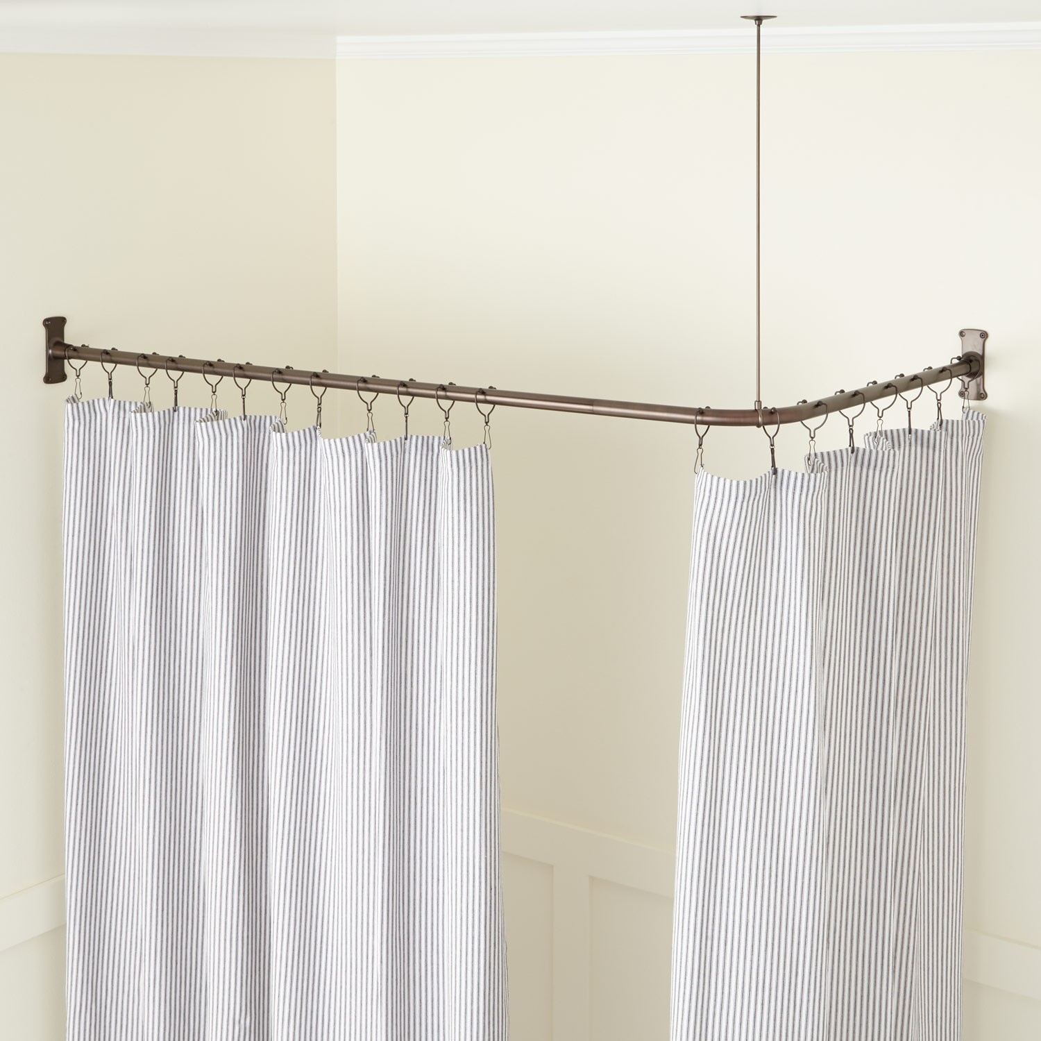 Corner Solid Brass Commercial Grade Shower Curtain Rod Bathroom throughout proportions 1500 X 1500