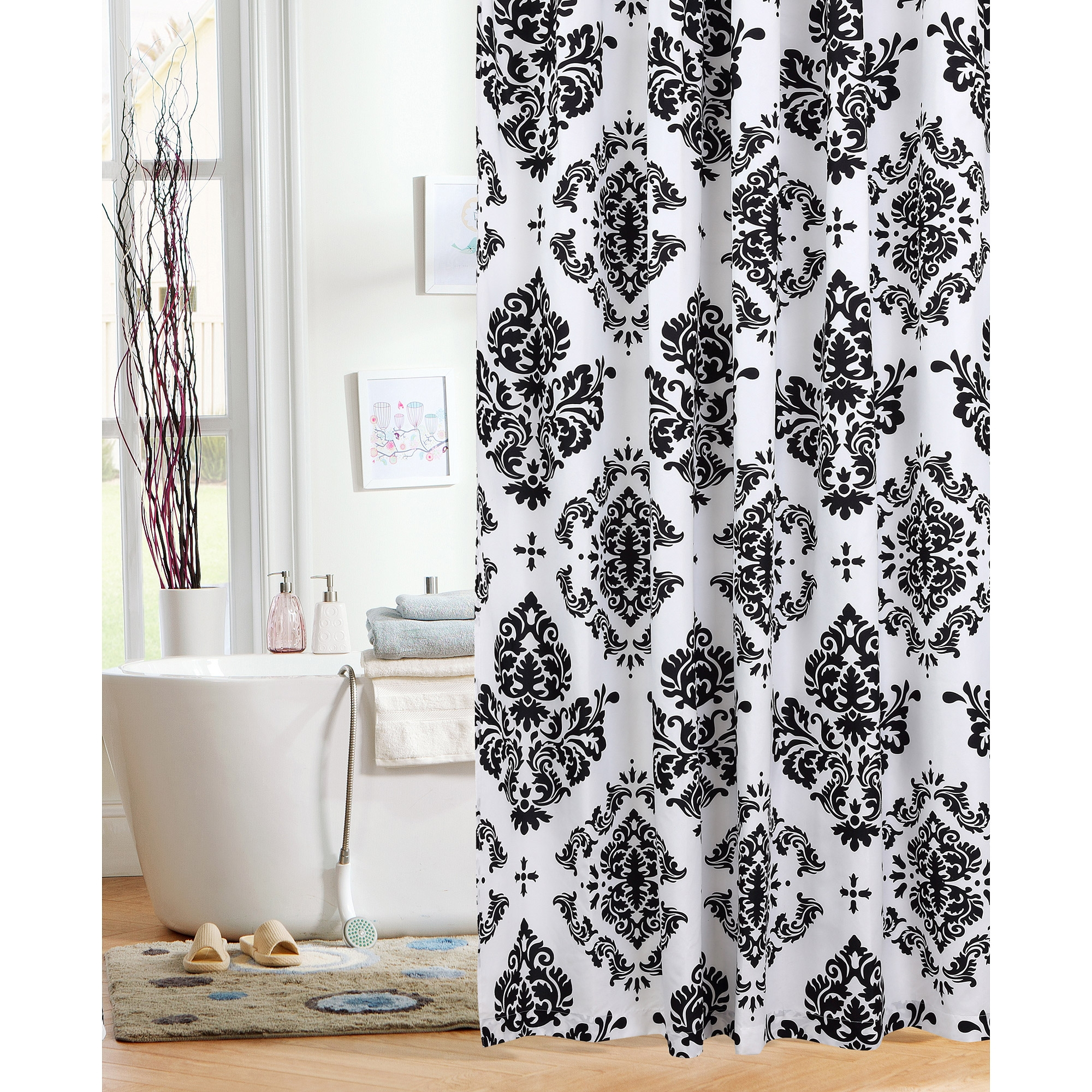 Cream And Black Damask Shower Curtain O Curtains Ideas
