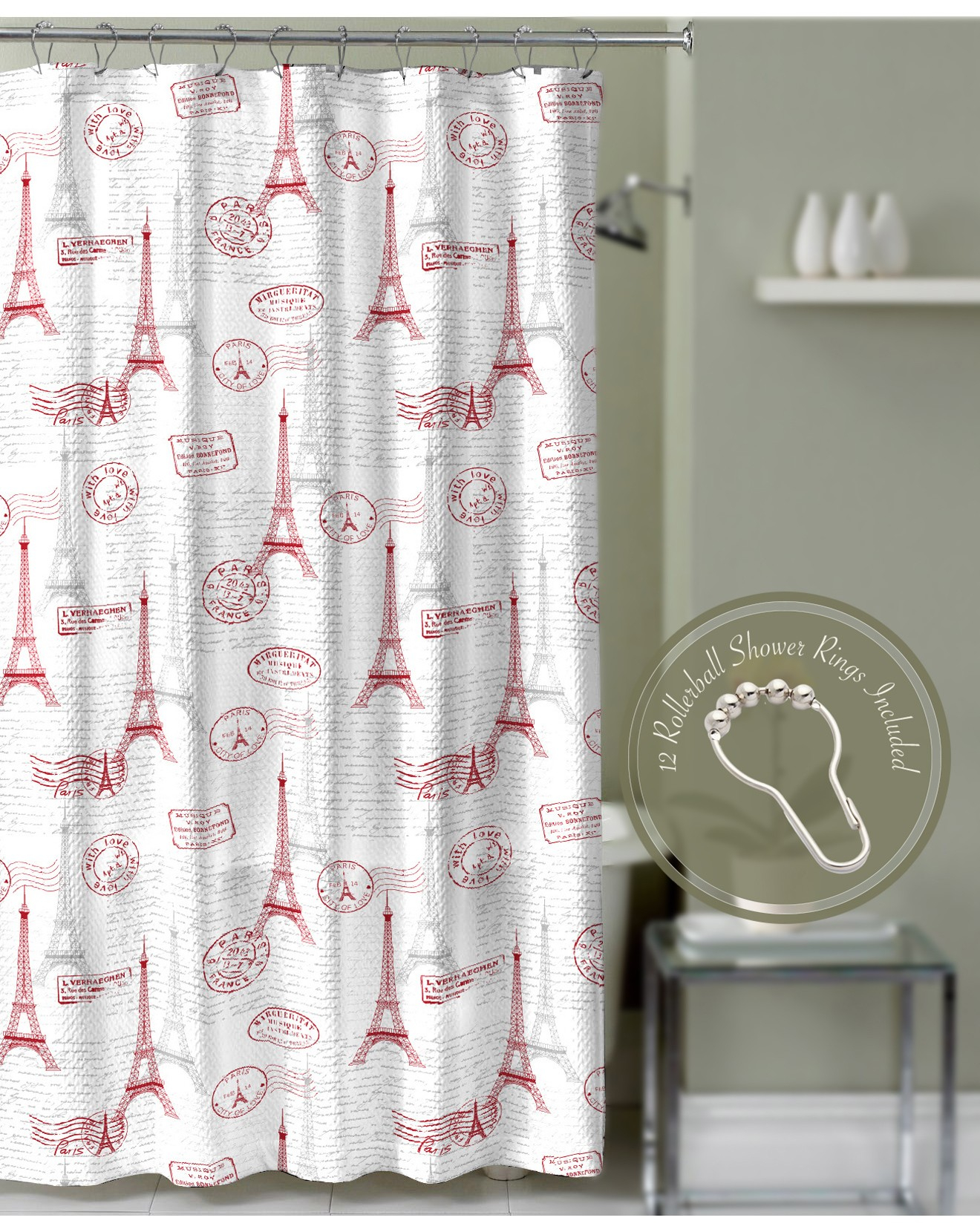 Crest Home Paris Postal Eiffel Tower Shower Curtain Red With in measurements 1320 X 1660